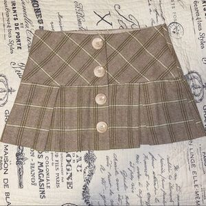 Tan & Green Plaid Skirt with Buttons